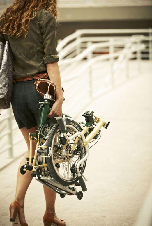 Girl and Brompton Folding Bike