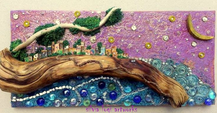 #pink #night #sea #houses #mixedmedia #mosaic on #wood , see more on my fb page https://www.facebook.com/pages/Silvia-Logi-Artworks/121475337893535?ref=br_rs