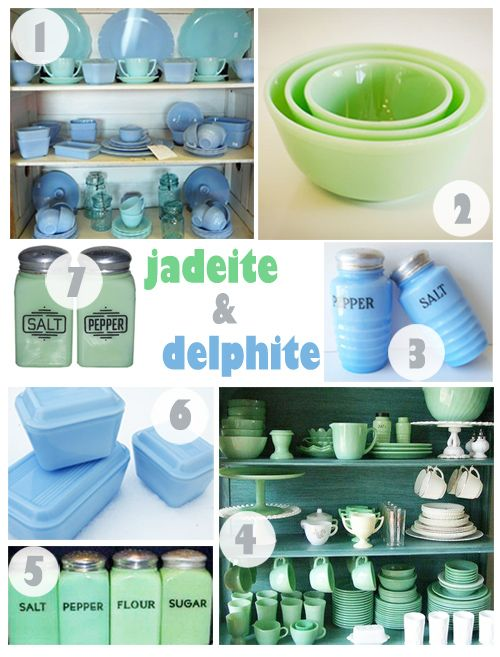 Jadeite and Delphite milk glasses...I am a collector of milk glass in all shades...white and green are my favorites!