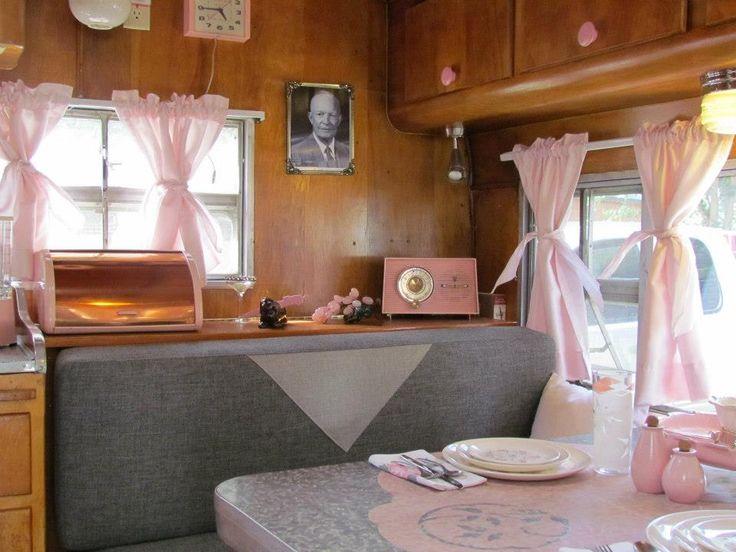 Adorable Pink And Grey Vintage Trailer Interior Camper Ideas Pinterest