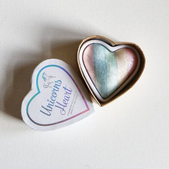 The packaging of the I Heart Makeup Unicorns Heart claims that the rainbow highlighter inside was made by the mythical creature. Rock this highlighter with your holiday makeup look to take your glitter obsession to the next level.
