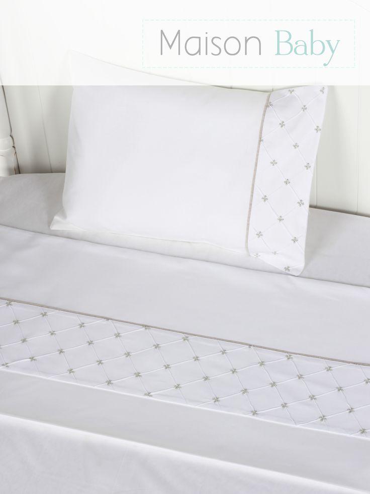 Lençol de berço, 3 peças, percal 250 fios, 100% algodão Maison Baby. Crib sheet set.