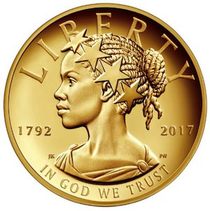 We boldly look to the future by casting Liberty in a new light, as an African-American woman wearing a crown of stars, looking forward to ever brighter chapters in our Nation's history book. The 2017 American Liberty Gold Coin is the first in a series of 24-karat gold coins the United States Mint will issue biennially.