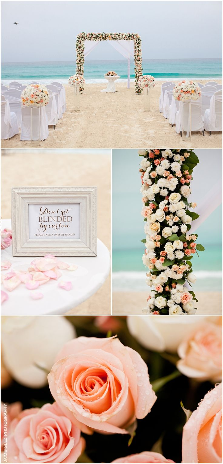 Sweet romantic beach wedding ceremony decor. Love the coral color roses! cancun wedding ideas | cancun wedding photography