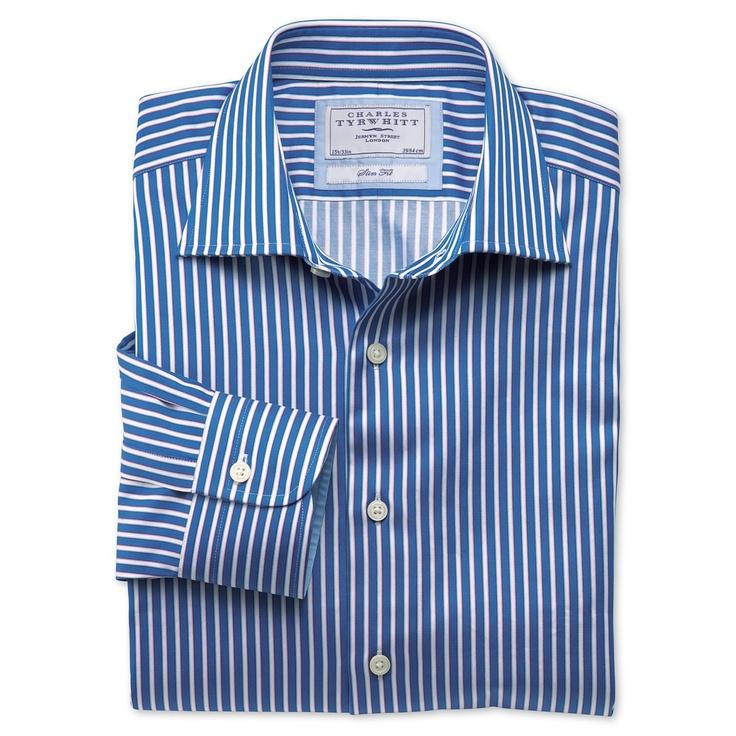 Robinson royal and white stripe business casual slim fit shirt   Men's dress shirts from Charles Tyrwhitt   CTShirts.com