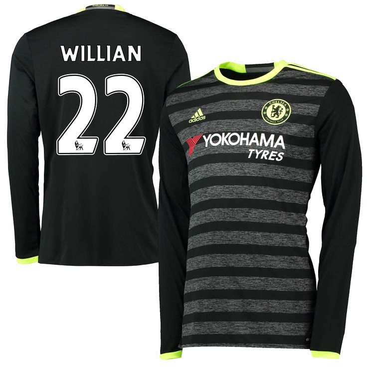 Willian Borges da Silva Chelsea adidas 2016/17 Away Long Sleeve Jersey - Black - $94.39
