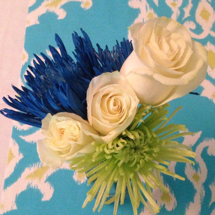 Blue green white flower arrangement for my sons baptism