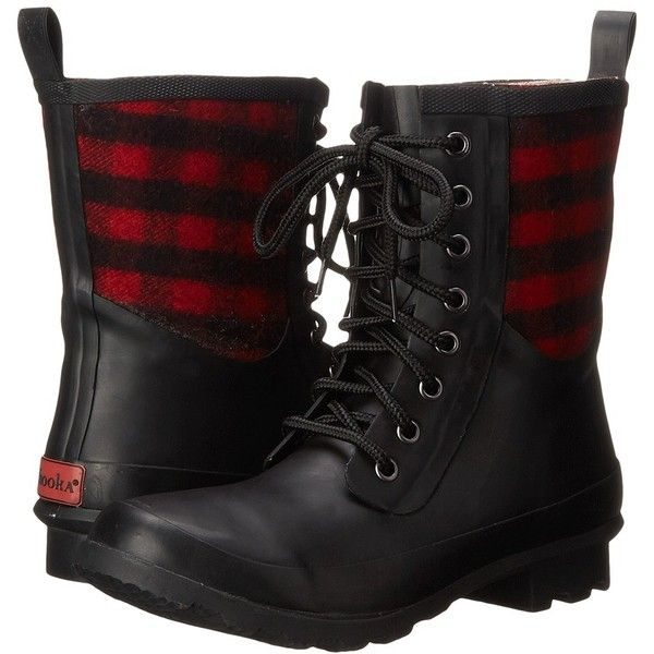 Chooka Cara Plaid Rain Boot Women's Rain Boots (£52) ❤ liked on Polyvore featuring shoes, boots, ankle boots, platform boots, short boots, lace-up rain boots, lace up ankle boots and short lace up boots