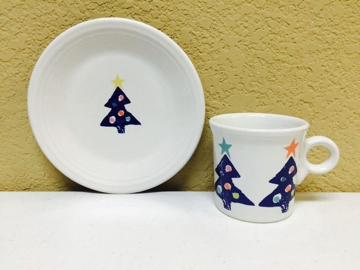 Rare Homer Laughlin Fiesta Mug And Plate Christmas Tree