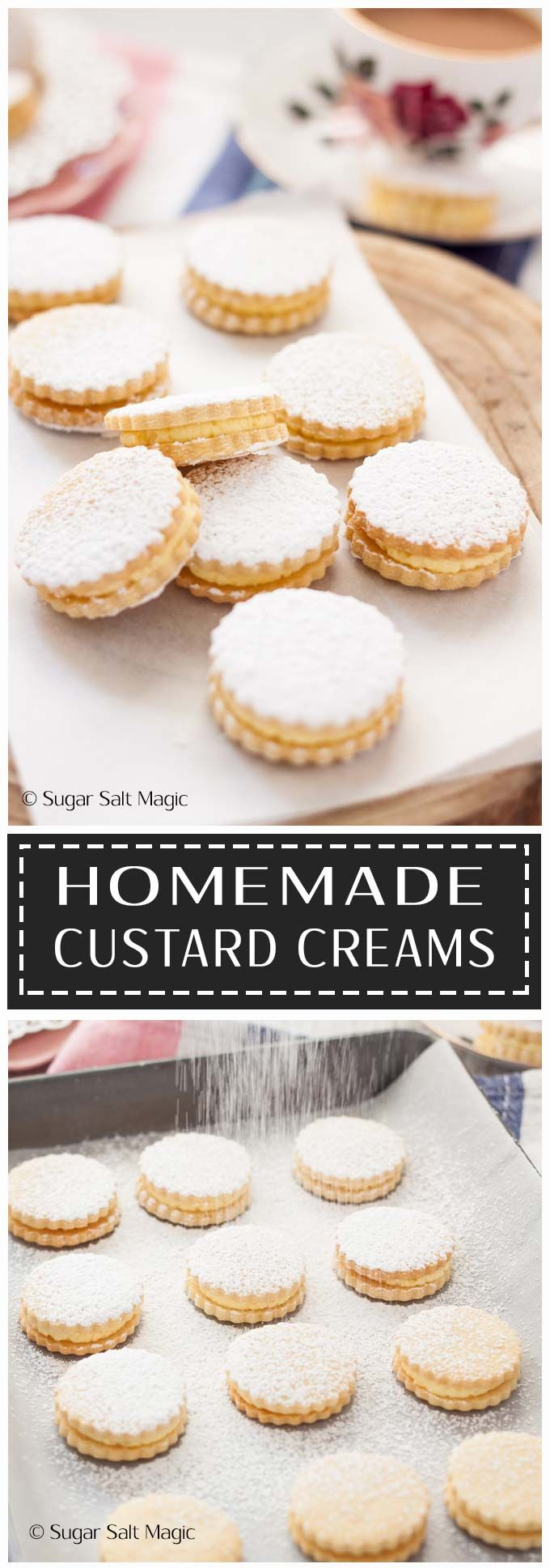 Homemade Custard Creams are delightful sugar cookies filled with a custard flavoured buttercream. #custard #custardcreams #Cookies #sandwichcookies #afternoontea #desserts #sweets #buttercream via @sugarsaltmagic
