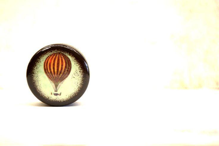 Carpe Diam Pill Box, Small pill box, Vintage Hot Air Balloon, Nursery, Baby Keepsake Box, First Tooth Box, Baby's First Curl,Wood Box, Boxes by Mmim on Etsy