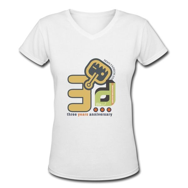 Three years anniversary logo white women 39 s v neck t shirt for Logo dress shirts no minimum