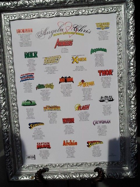 I went to a great wedding this weekend. Below is the framed seating arrangement that greeted all guests as they walked into the pavilion. Note that Angela