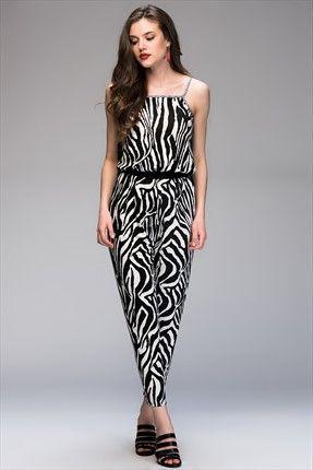 Siyah Beyaz Tulum SP217 Cool & Sexy | Trendyol