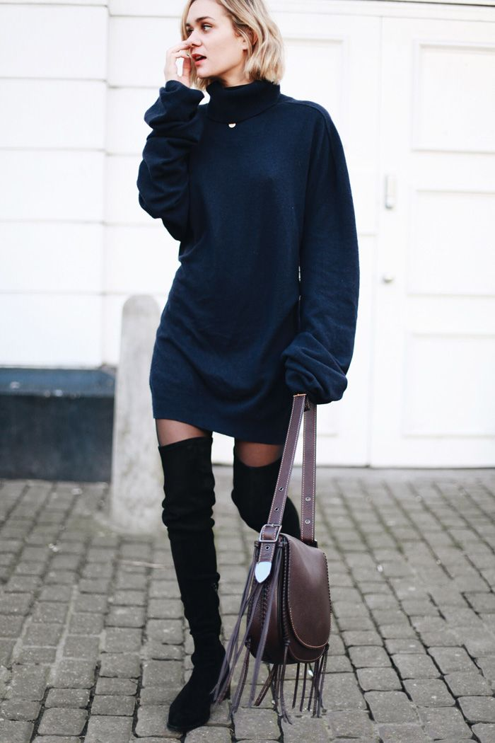 oversized turtleneck dress and over the knee boots                                                                                                                                                      More