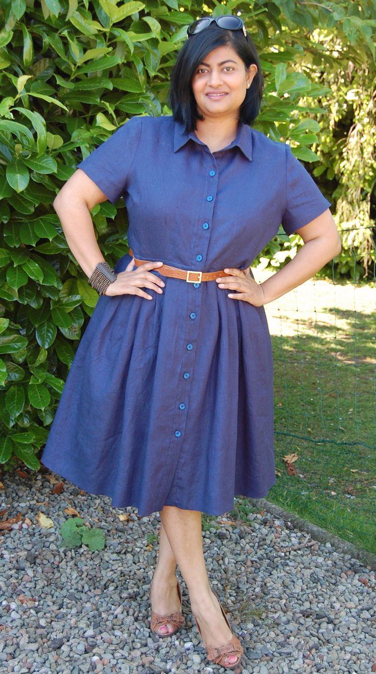 McCalls 6696: DIY navy linen shirt dress by Sewmanju