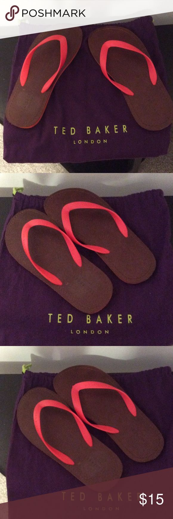 NEW! Men's Ted Baker Flip Flops Leather insoles with man made straps. I ship the same or next business day! Ted Baker Shoes Sandals & Flip-Flops