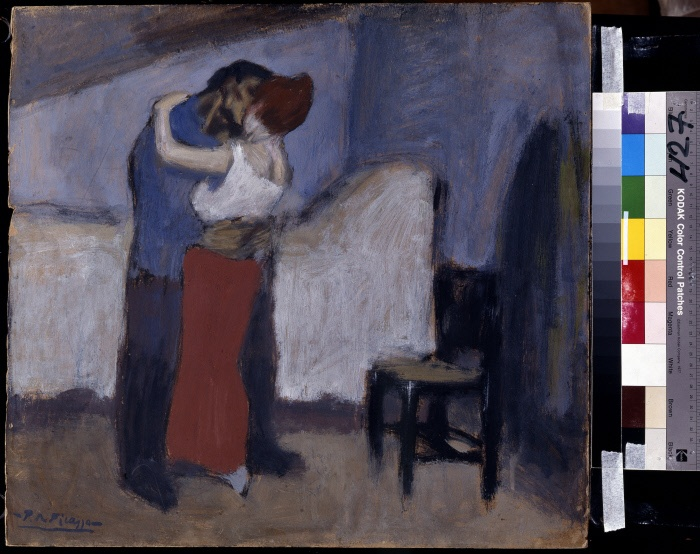 """FART00427    """"Le Rendez vous"""" ou """"L'etreinte"""". Rencontre d'un couple dans une garconniere (chambre de bonne). Peinture de Pablo Picasso (1881-1973), 1900. Huile sur carton. Dim : 52x56cm. Musee Pouchkine, Moscou. ©Succession Picasso 2009 (Picasso administration tel : 33- 1 - 47 03 69 70) ©FineArtImages/Leemage MONDADORI PORTFOLIO/LEEMAGE"""