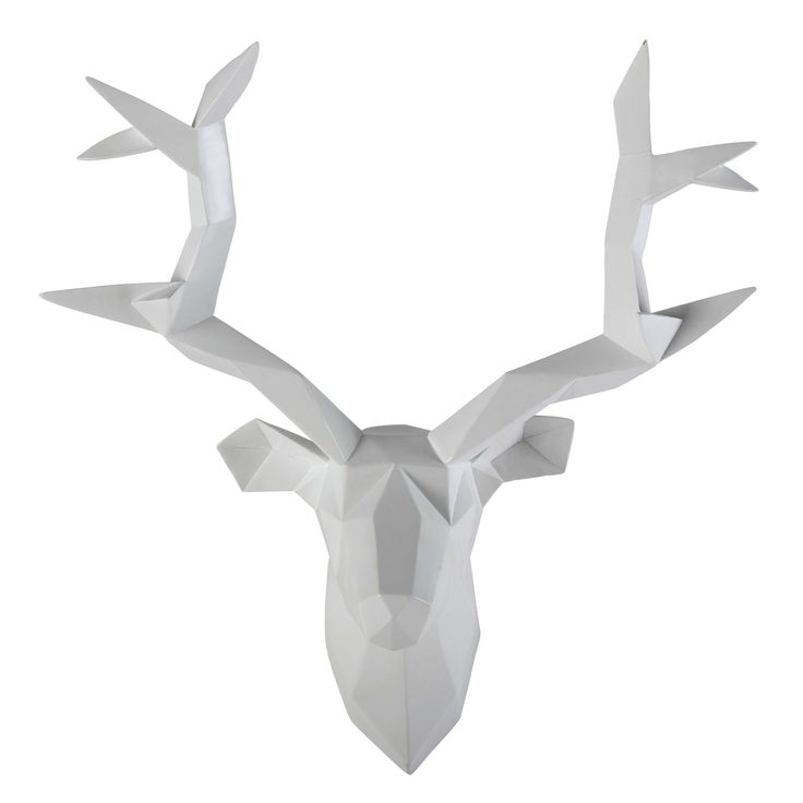 D co murale t te de cerf blanche 45 x 47 cm origami et d co for Decoration murale tete de cerf