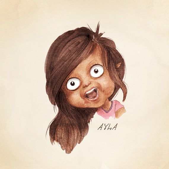Children's Caricature. Child | Baby | Toddler Portrait. Parent's Gift. Grandparent Gift. Fine Art Print. Letter Size Print. Girl Portrait.