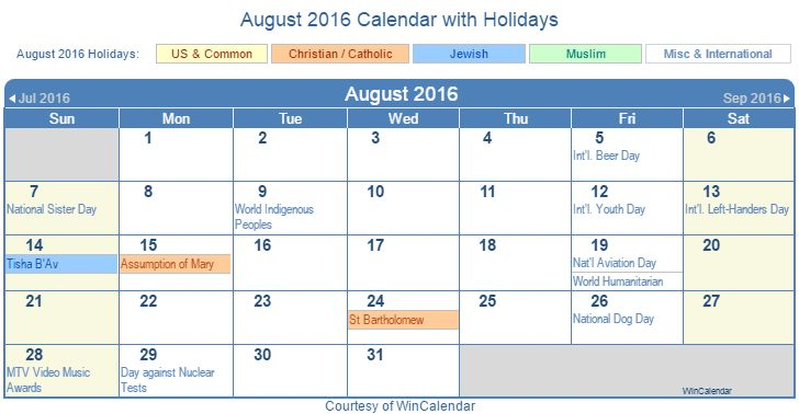 August 2016 Calendar with Holidays - United States