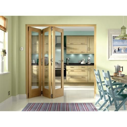 Wickes Ashton Internal Folding Door Oak Veneer Glazed 1