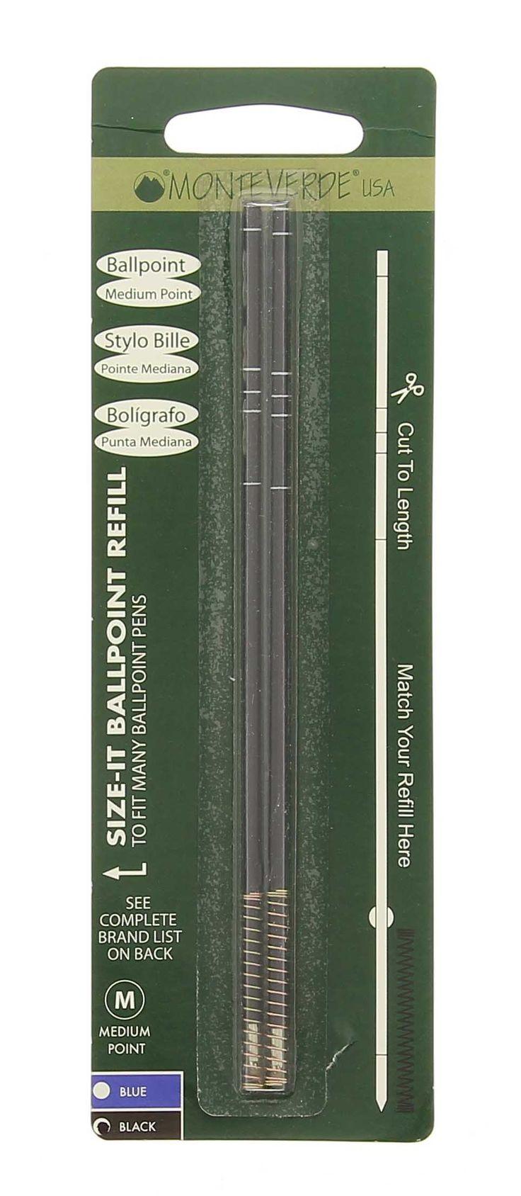Recharge bille universelle Monteverde noire x 2 : achat recharge stylo