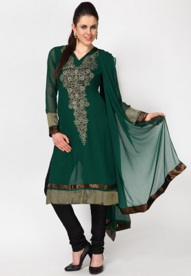 A green coloured suit set for women from the house of Aneri. The georgette kurta from this suit set has a knee length. If you knew how to describe the elegance of this suit set, you wouldn't have been staring at it for so long.