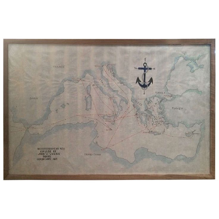 Vintage Nautical Map of the Mediterranean 1