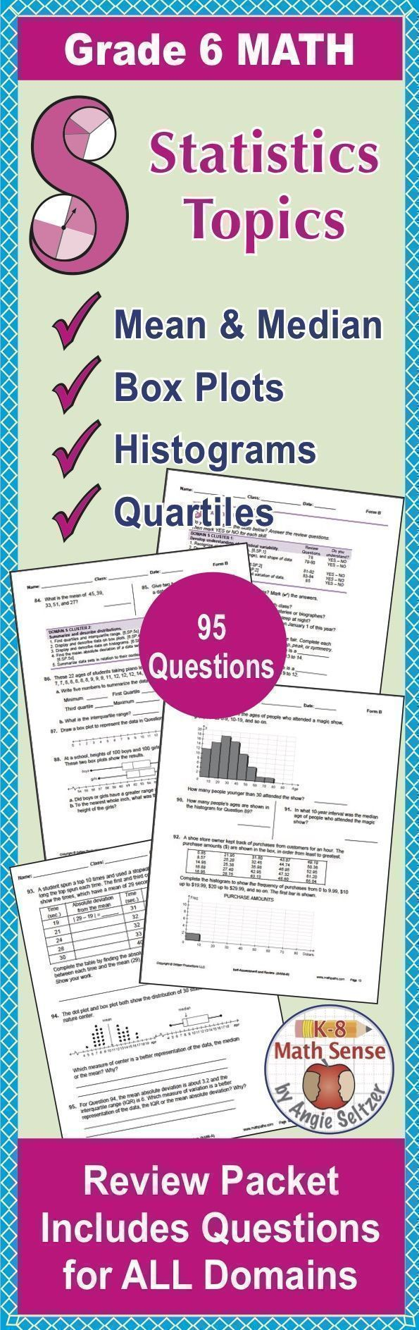 Review all sixth grade math topics including mean, median, box plots, histograms, quartiles, and more! This comprehensive review packet, Form D, is parallel to Forms A, B, and C so you can check progress all year.