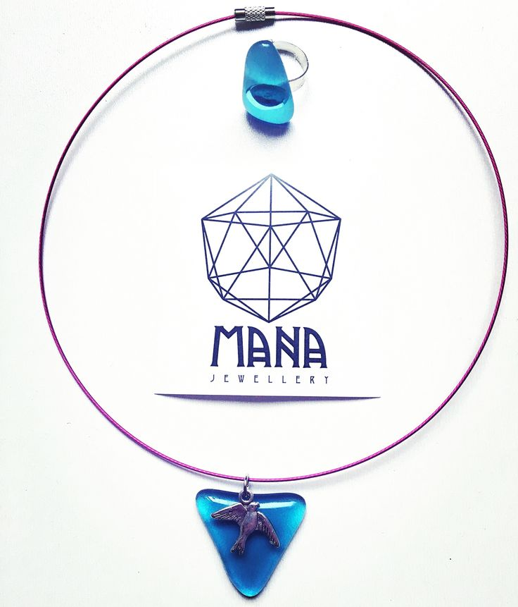 MANA jewelry sky blue bird pendant and ring