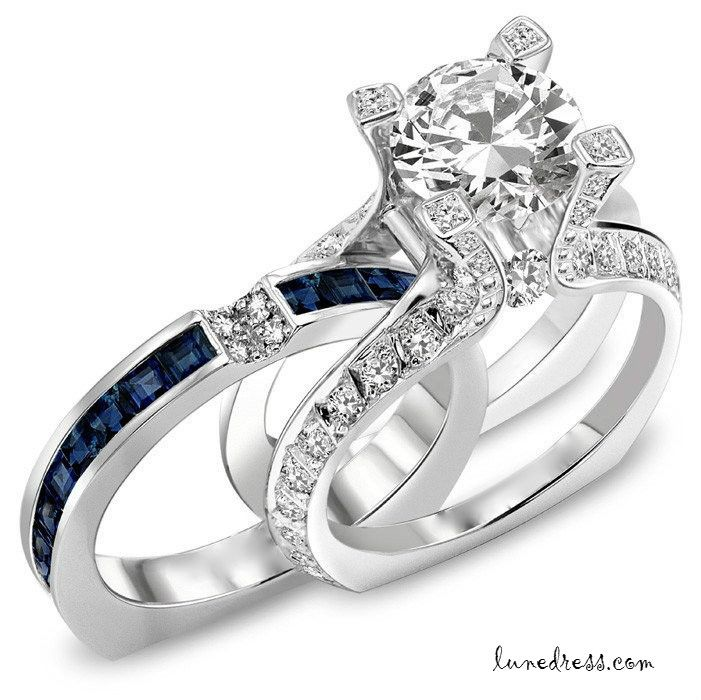 Ct Round Diamond Engagement Ring Blue Shire Wedding Band Set From Dazzlingengagements On Etsy Saved To Accessories