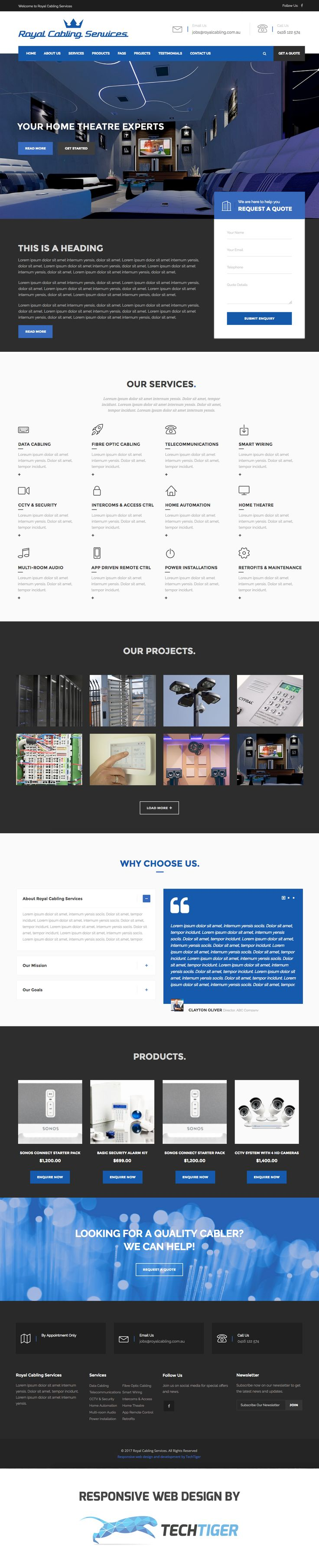 Royal Cabling Services. Responsive website design by TechTiger.