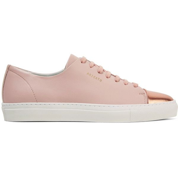 Axel Arigato Metallic-trimmed leather sneakers ($185) ❤ liked on Polyvore featuring shoes, sneakers, leather trainers, pastel pink shoes, chunky shoes, pink sneakers and cap toe shoes