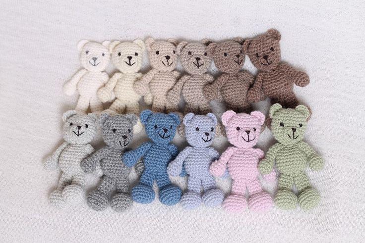 Rainbowbabyprops — Crocheted teddy bears - 12 colors - Photography prop
