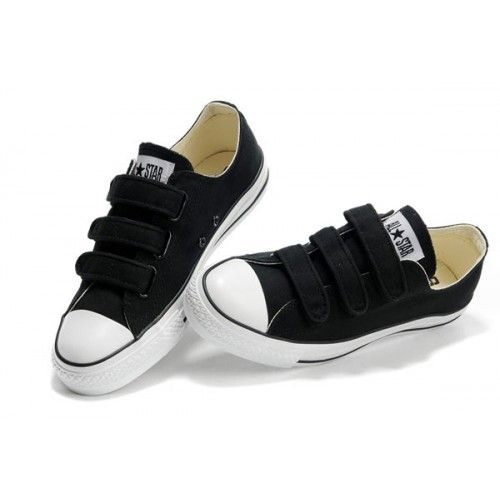 Velcro Converse All Star Noir 3 Strap Basse Plateaux de chaussures de toile Soldes Converse 2015