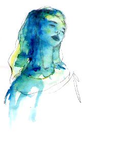 #blue #watercolor #illustration #neck