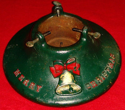 """Vintage Christmas Tree Stand ~ Green Cast Iron with Bell """"Merry Christmas"""" * Manufactured by Manitowoc Grey Iron Fdry, Manitowoc, WI"""