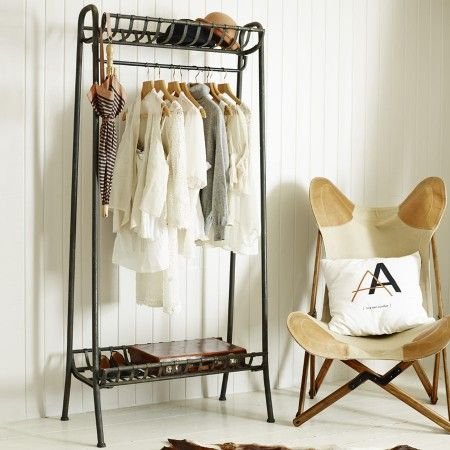 A delightful industrial look storage solution, perfect for your wardrobe, and with both a top and bottom shelf, there's plenty of room for your accessories.
