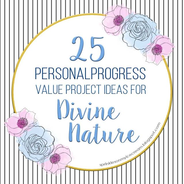 Need some ideas for you #PersonalProgress  Divine Nature Value Project? From harnessing your inner DIYer to baking cakes for Veterans and teaching your Grandma how to use her email, these 25 ideas should get your creative juices flowing. #ldsyw