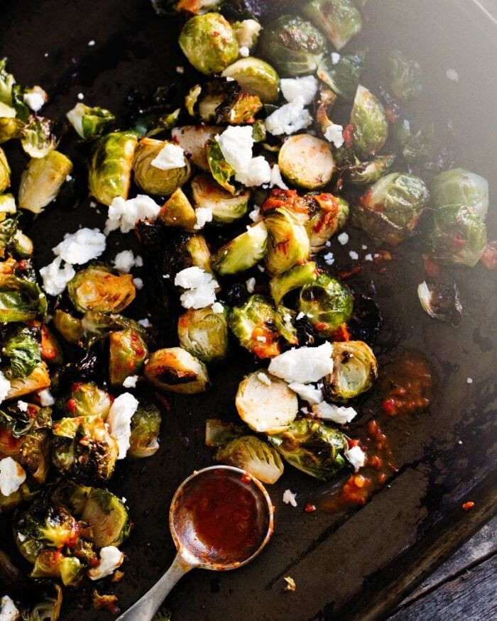 Roasted Brussels Sprouts with Goat Cheese & Harissa | A Couple Cooks   – Side-dishes