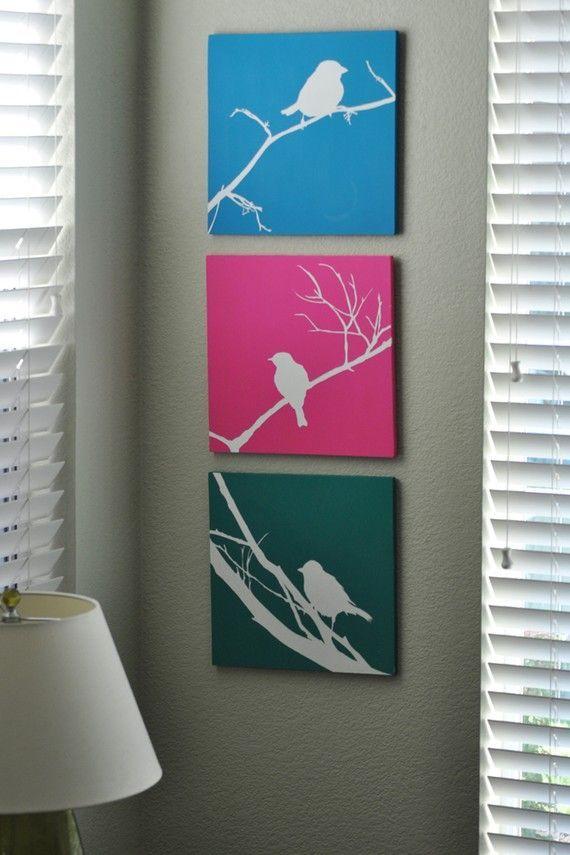 * Decoração e Invenção *: Trio de quadros - Passarinhos