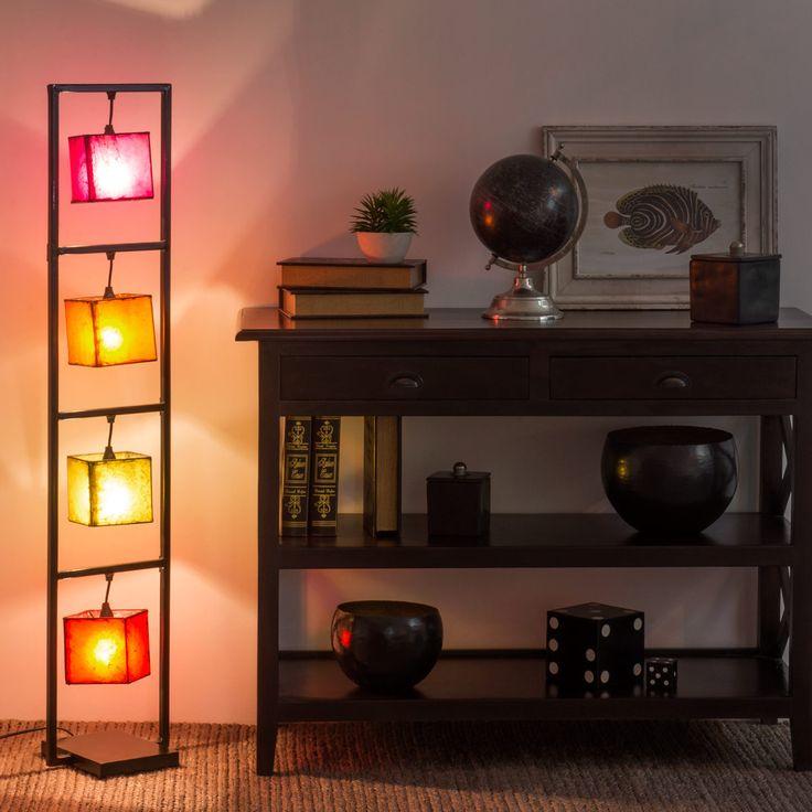 Lampadaire en métal et cuir de chèvre multicolore H 125 cm JODHPUR | Maisons du Monde