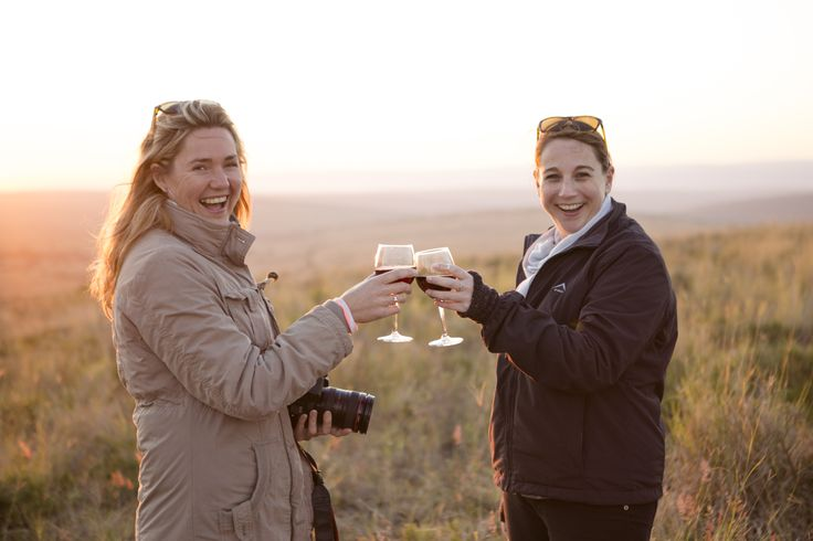 Angela and Tracy having sundowners at Gorah Elephant Camp in the Eastern Cape. #Africa #SouthAfrica #Cape