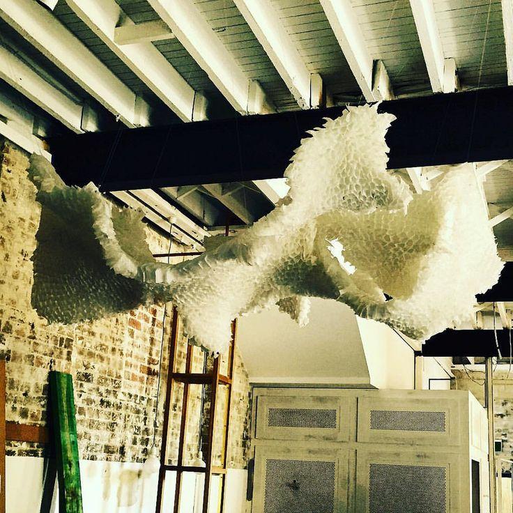 Detalle de obra en Sydney 2015 En @rabbitholetea  con @corinne.smith_ @valeriaburgoav #teabags #art #sculpture