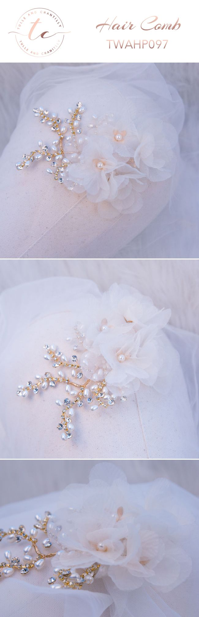 Bridal   Fascinator Chiffon Flower Wedding Hair Clip