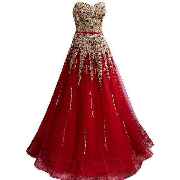 Amazon.com: Kivary® Red A Line with Gold Beading Long Corset Sash... ($190) ❤ liked on Polyvore featuring dresses, prom dresses, long cocktail dresses, red cocktail dress, cocktail prom dress and long prom dresses