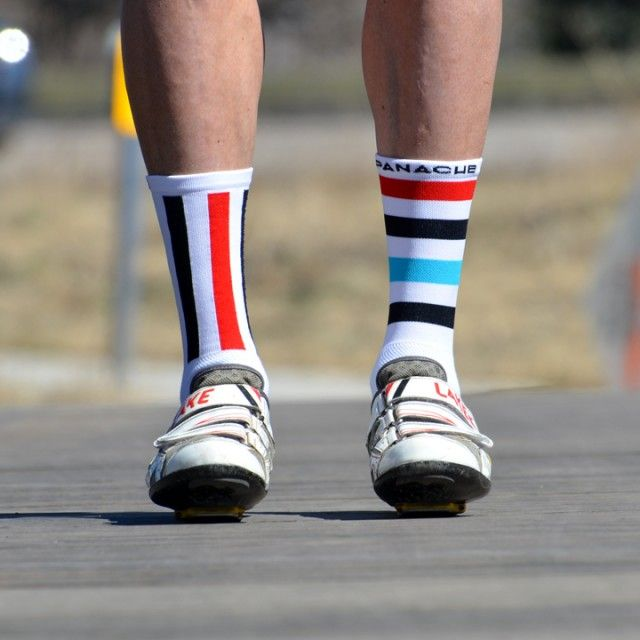 Assym Stripe Socks (Red/Black/Blue)