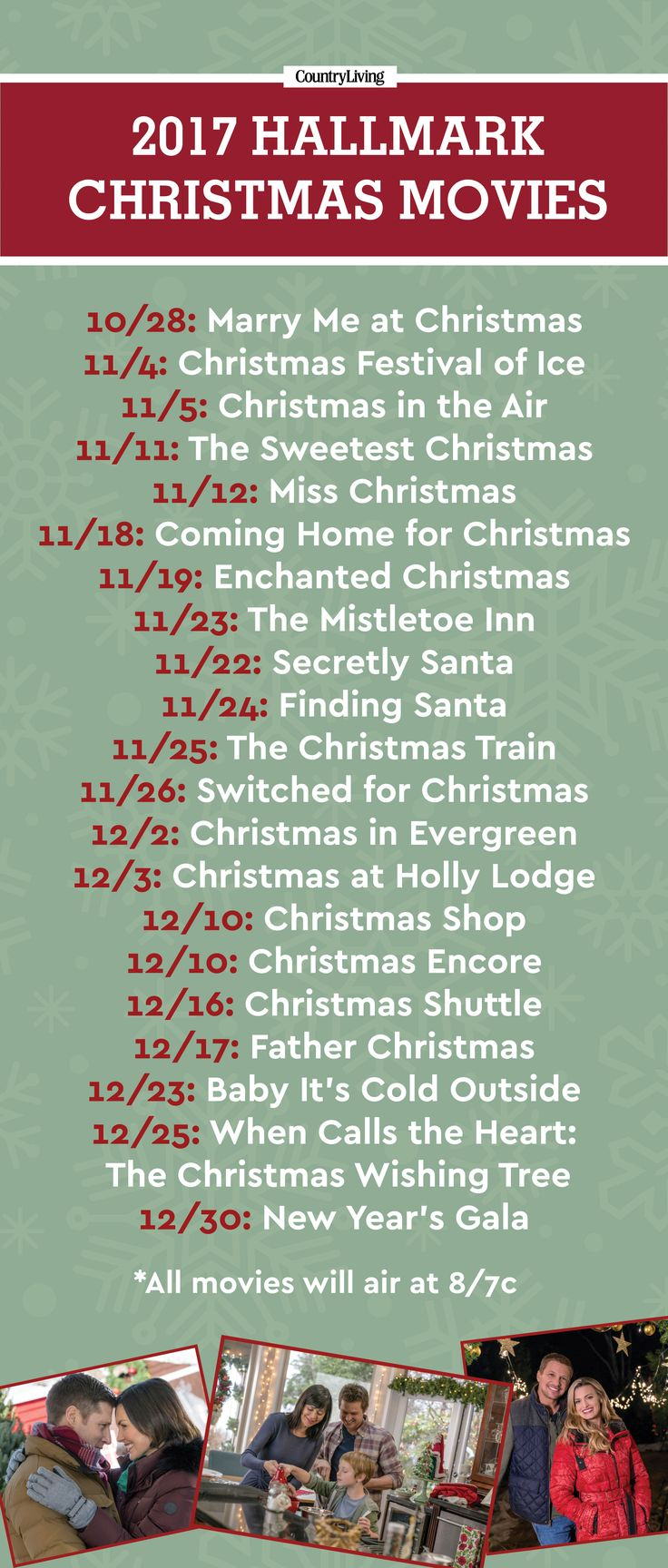 Hallmark will premiere 21 holiday films this year starring Candace Cameron Bure, Kimberly Williams-Paisley, Lacey Chabert, and more familiar favorites. Get your DVR ready now—the Christmas fun starts October 24!