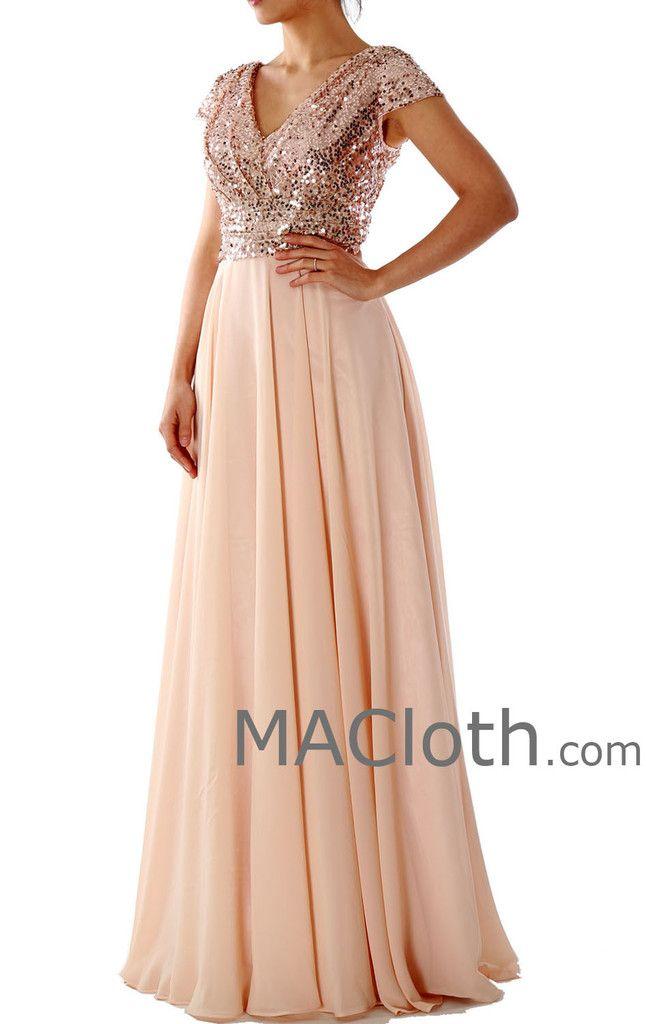Cap Sleeves V Neck Sequin Chiffon Rose Gold Bridesmaid Dress 160150